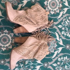 Lite tan suede slouch pull on bootie